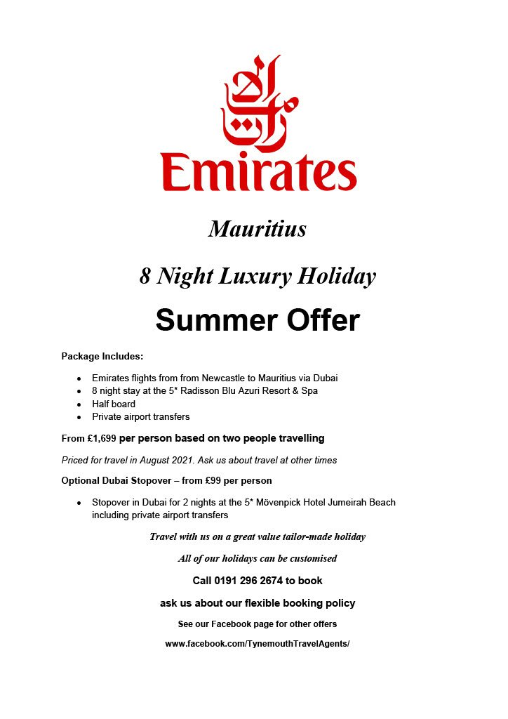 Mauritius 8 Night Luxury Holiday from Newcastle with Emirates